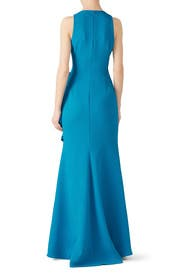 Bright Aqua Ruffle Gown by Badgley Mischka