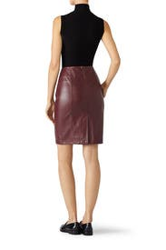Merlot Vegan Leather Skirt by Paper Crown