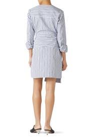 Liam Stripe V-Neck Shirtdress by Tibi
