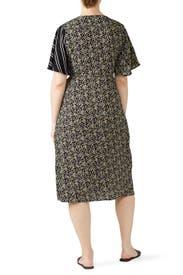 Mixed Print Midi Dress by LOST INK