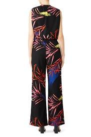Black Leaf Print Jumpsuit  by N Natori