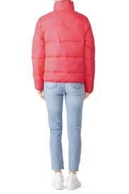 Flouro Pink Puffer Coat by Hunter