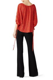 Red Drawstring Balloon Blouse by Derek Lam Collective