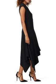 Black Asymmetrical Hem Dress by Josie Natori