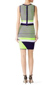 Lime Striped Lucy Knit Dress by John + Jenn