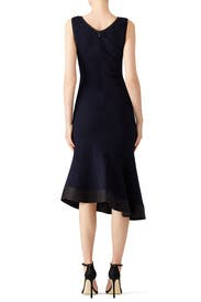 Navy Ruched Asymmetrical Dress by DEREK LAM