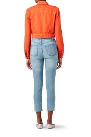 Orange Faye Denim Jacket by J BRAND