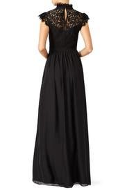 Black Lace Paneled Gown by Rachel Zoe
