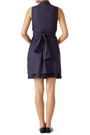 Navy Tie Ruffle Dress by Derek Lam 10 Crosby