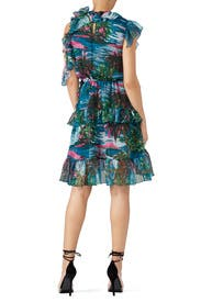 Printed Sea Blue Ruffle Dress by MSGM