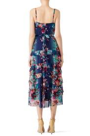 Blue Floral Printed Midi Dress by Fuzzi