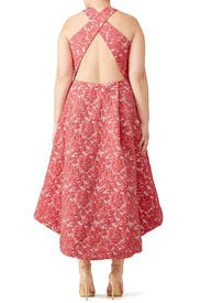 Red Abstract Floral Dress by ML Monique Lhuillier