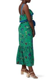 Green Printed Ruffle Cami Dress by Derek Lam 10 Crosby