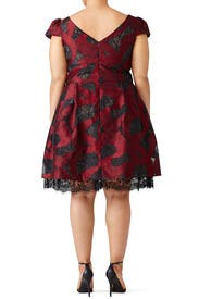 Bordeaux Peeking Lace Dress by ML Monique Lhuillier