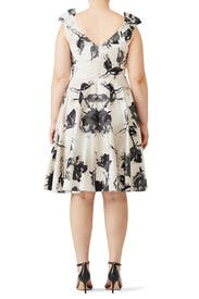 White Floral Full Skirt Dress by Christian Siriano