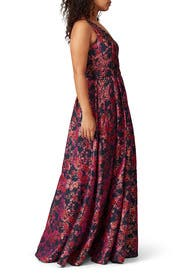 Pink Floral Jacquard Gown by Badgley Mischka