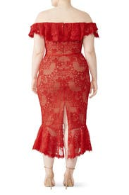 Red Laced Cocktail Dress by Marchesa Notte