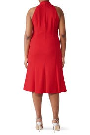 Red High Neck Fit And Flare by Donna Morgan