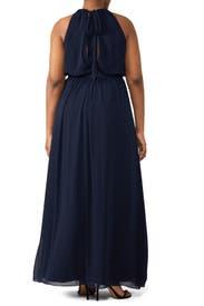 Navy Fleurette Gown by WATTERS