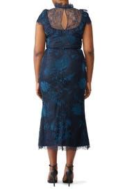 Navy Lace Bib Dress by Marchesa Notte