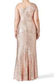 Blush Sequin Gown by Badgley Mischka