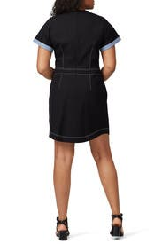Black Short Sleeve Crew Neck Dress by Derek Lam 10 Crosby