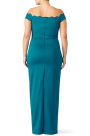 Teal Scallop Gown by Badgley Mischka