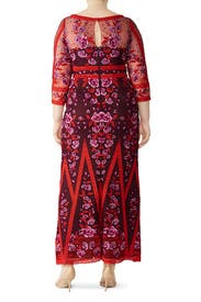 Wine Floral Lace Gown by Marchesa Notte