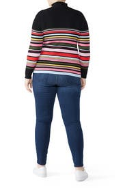 Striped Mock Neck Sweater by Tome