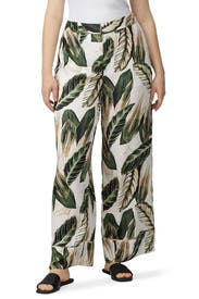 Palm Printed Wide Leg Pants by Great Jones