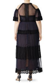 Navy Tiered Lace Gown by Marchesa Notte