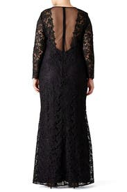 Black Lace Tower Gown by ML Monique Lhuillier