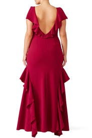 Raspberry Ruffle Gown by Theia