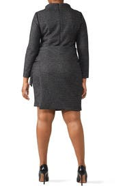 Charcoal Faux Wrap Dress by Badgley Mischka