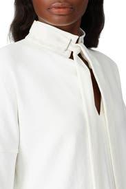 White Dolman Tie Neck Top by Tibi