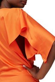 Orange Draped Dress by MUGLER
