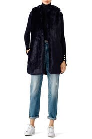 Blue Faux Fur Vest by Amanda Uprichard