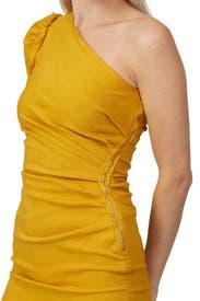 One Shoulder Asymmetric Denim Dress by Jonathan Simkhai