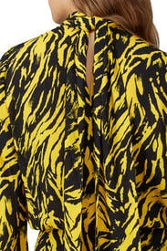 Yellow Zebra Print Midi Dress by No. 21