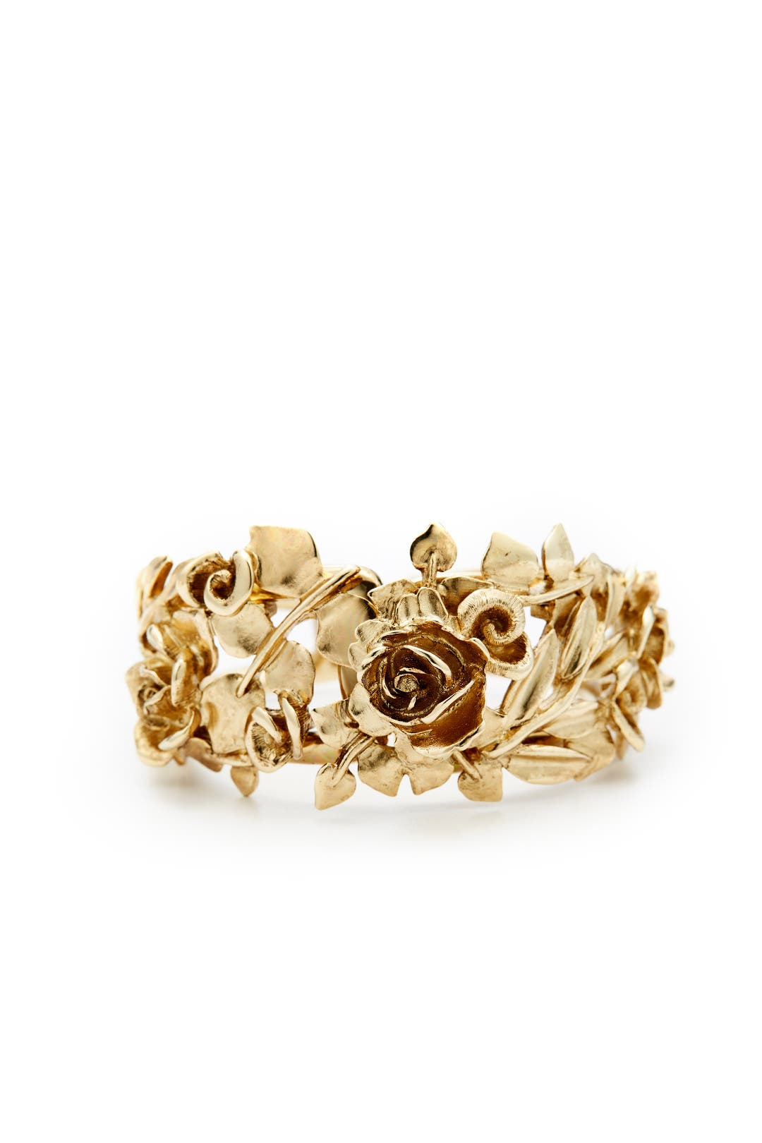 Rose And Leaf Gold Vine Bracelet By Oscar De La Renta For