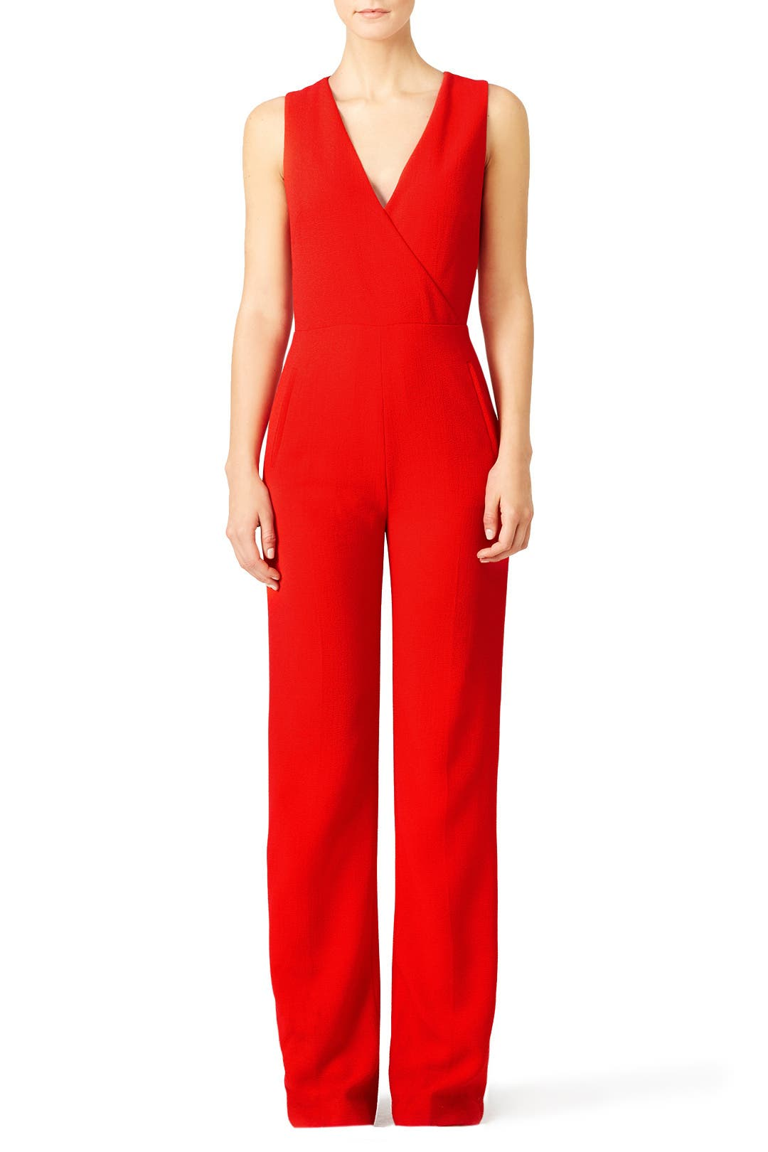Tory Burch Red Pebbled Crepe Jumpsuit