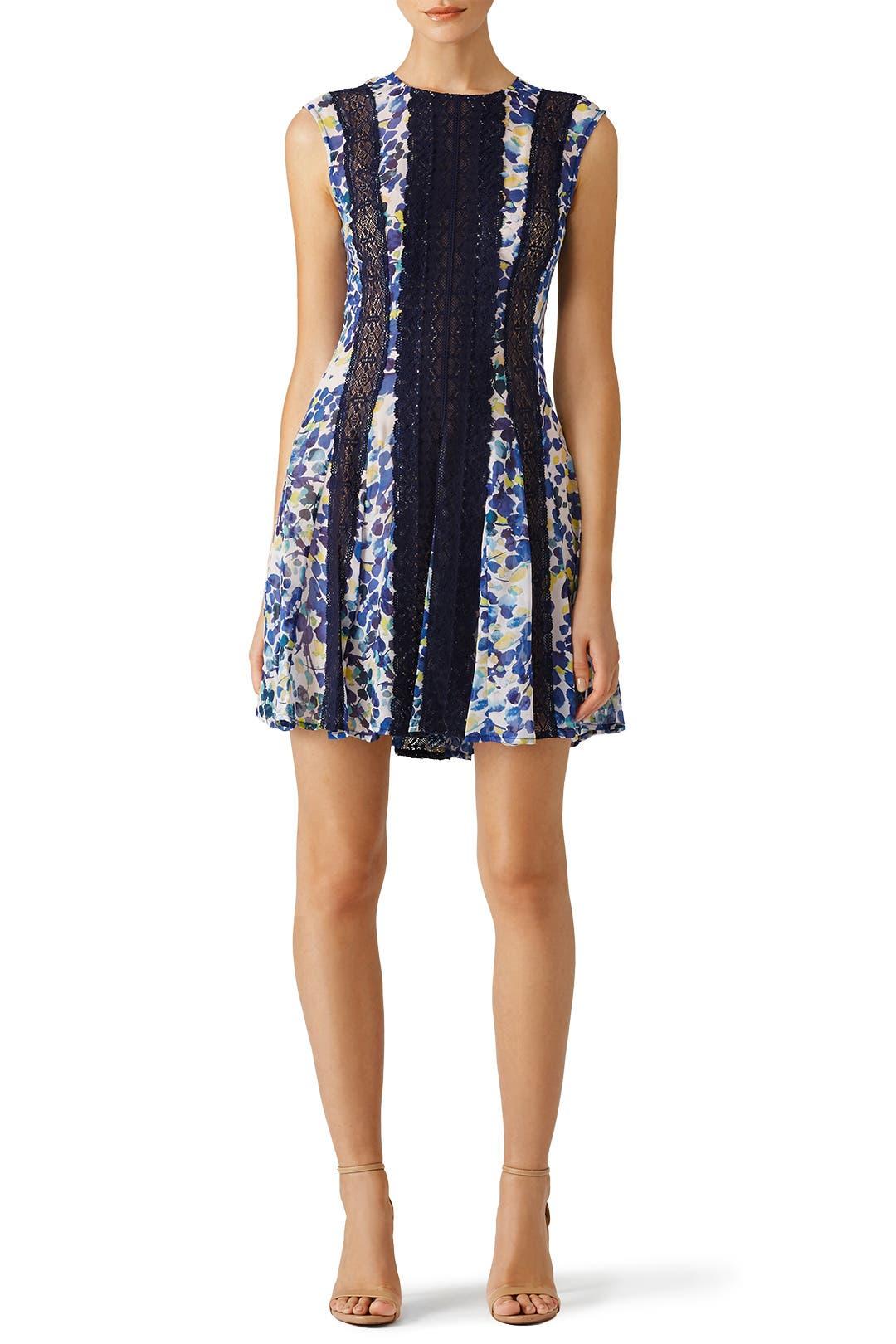 BCBGMAXAZRIA Blue Floral Jalena Dress