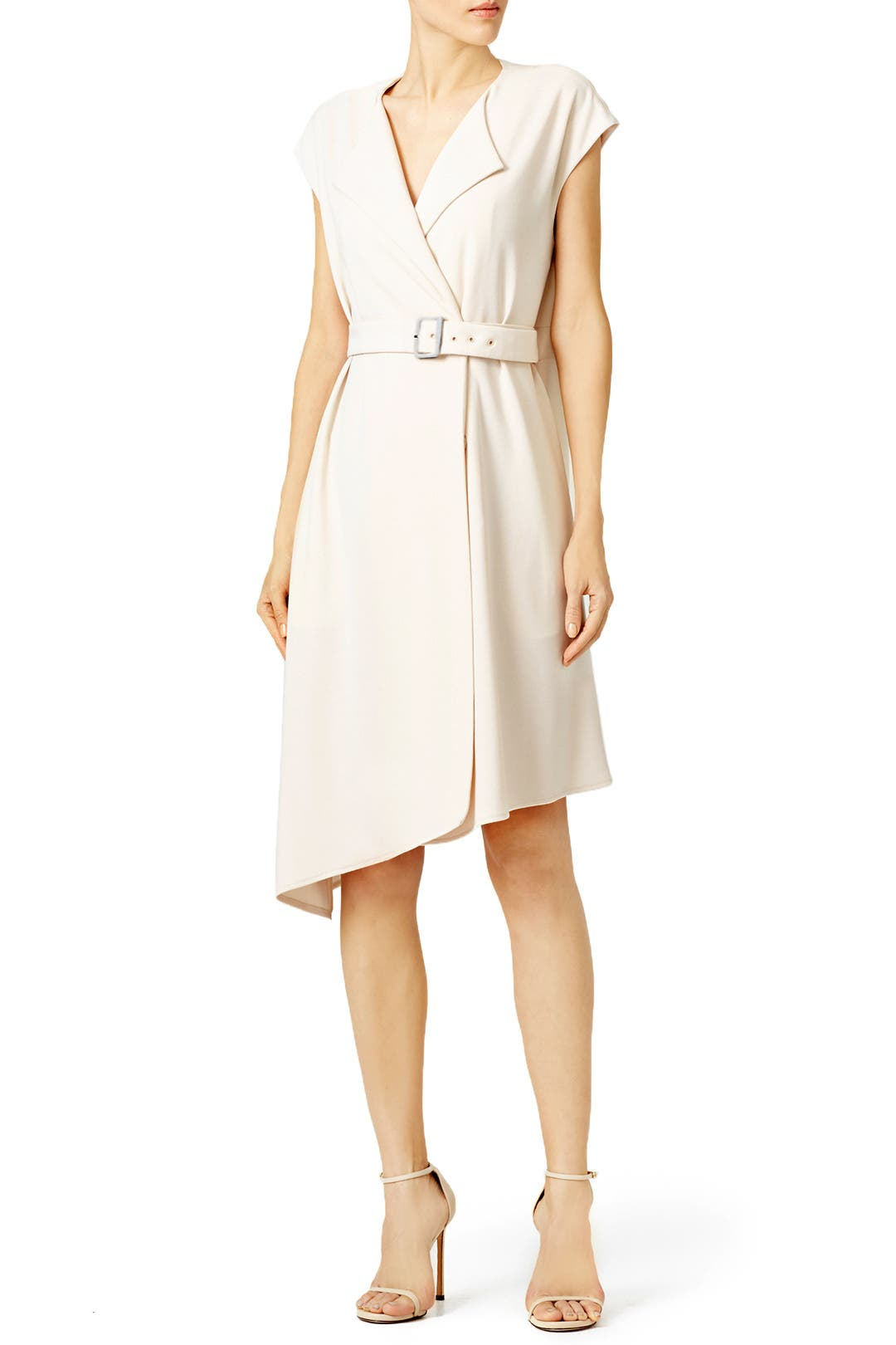 Tibi Beige Structured Crepe Trench Dress
