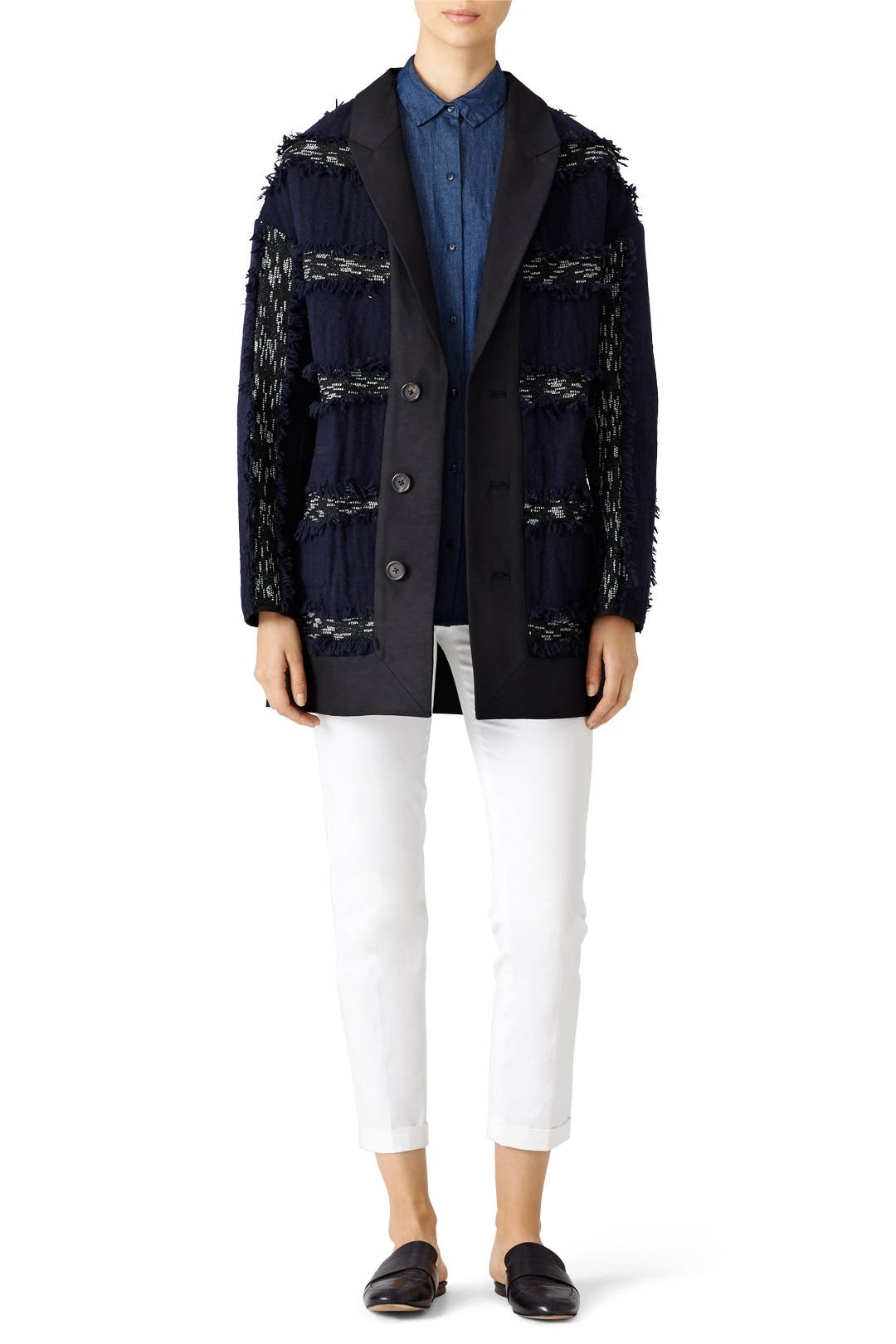 Derek Lam 10 Crosby Midnight Stripe Fringe Jacket