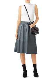 Grey Leather Midi Skirt by Bagatelle