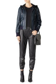 Hooded Leather Bomber by Samantha Sipos