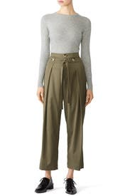 Tie Front Pleated Pants by Jason Wu Grey