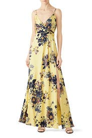 Yellow Floral Gown by Jill Jill Stuart