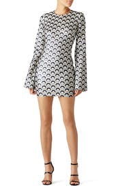 Metallic Hexagon Print Dress by Rubin Singer