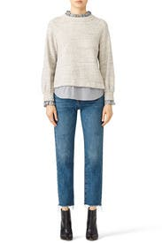 Striped Trim Sweater by La Vie Rebecca Taylor
